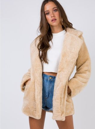 Faux Fur Plain Cashmere & Fur Coats