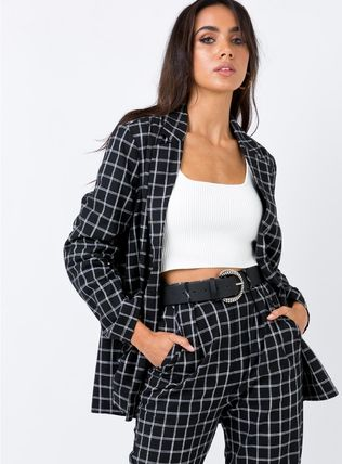 Other Check Patterns Casual Style Jackets