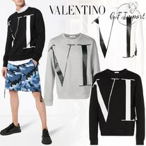 VALENTINO Crew Neck Street Style Long Sleeves Cotton Sweatshirts