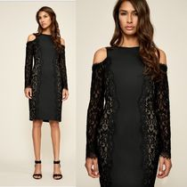 TADASHI SHOJI Flower Patterns Tight Long Sleeves Plain Medium Dresses