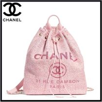 CHANEL Casual Style Calfskin Street Style Backpacks