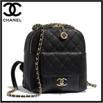 CHANEL Casual Style Calfskin Street Style Chain Backpacks