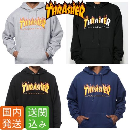 THRASHER Hoodies Pullovers Sweat Street Style Long Sleeves Plain Hoodies