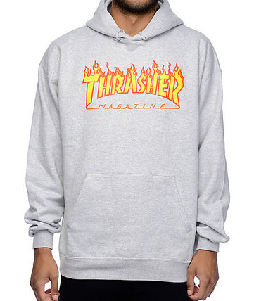 THRASHER Hoodies Pullovers Sweat Street Style Long Sleeves Plain Hoodies 10