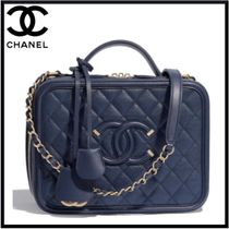 CHANEL Calfskin Blended Fabrics 2WAY Chain Elegant Style Handbags