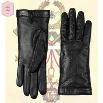 GUCCI Gucci Signature Leather Monogram Plain Leather Leather & Faux Leather Gloves