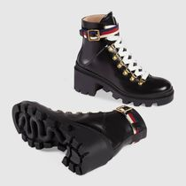 GUCCI Mountain Boots Round Toe Street Style Plain Leather