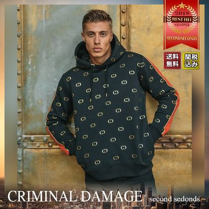 CRIMINAL DAMAGE Hoodies Pullovers Monogram Street Style Long Sleeves Cotton Hoodies