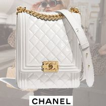 CHANEL BOY CHANEL Calfskin 2WAY Chain Plain Elegant Style Handbags