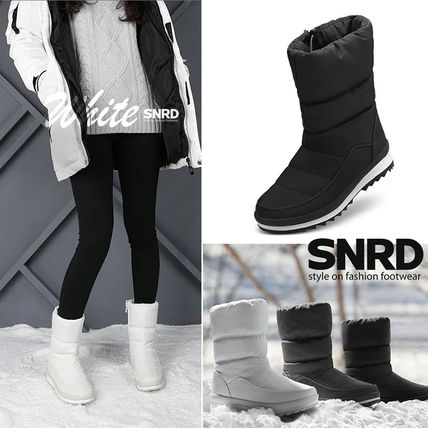 Round Toe Rubber Sole Casual Style Plain Mid Heel Boots