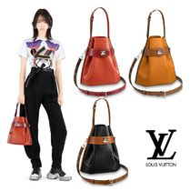 Louis Vuitton 3WAY Plain Leather Elegant Style Handbags