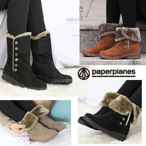paperplanes Round Toe Rubber Sole Casual Style Suede Plain