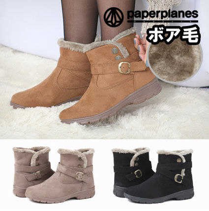 Round Toe Rubber Sole Casual Style Suede Plain