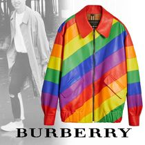 Burberry Short Stripes Other Check Patterns Leather Biker Jackets