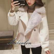 Short Faux Fur Plain Elegant Style Biker Jackets