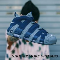 Nike AIR MORE UPTEMPO Street Style Leather Sneakers