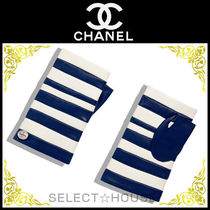 CHANEL Stripes Leather Leather & Faux Leather Gloves