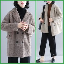 Casual Style Wool Plain Medium Oversized Peacoats