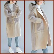 Casual Style Suede Plain Long Oversized Peacoats