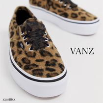 VANS AUTHENTIC Leopard Patterns Platform Plain Toe Casual Style