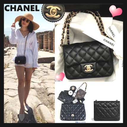 CHANEL Shoulder Bags Casual Style Unisex Lambskin 2WAY Chain Plain Shoulder Bags 2