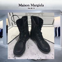 Maison Martin Margiela Plain Toe Street Style Plain Leather Engineer Boots
