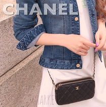 CHANEL Calfskin 2WAY Chain Elegant Style Clutches