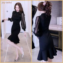 Short Tight Long Sleeves Plain High-Neck Lace Dresses
