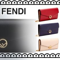 FENDI Chain Plain Leather Long Wallets