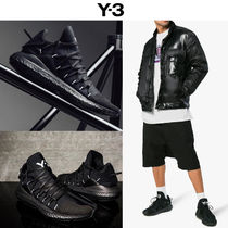 Y-3 BOOST Unisex Street Style Plain Leather Sneakers