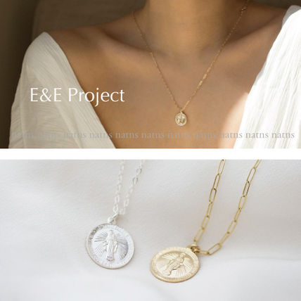Casual Style Coin Chain Silver 14K Gold Necklaces & Pendants