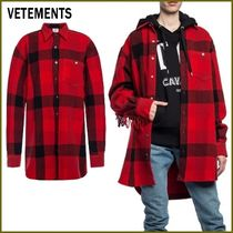 VETEMENTS Other Check Patterns Casual Style Wool Street Style
