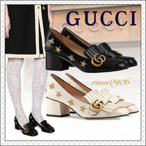 GUCCI Star Round Toe Casual Style Street Style Leather