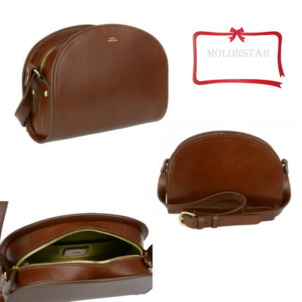 2WAY Plain Leather Office Style Shoulder Bags