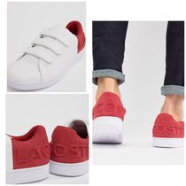 LACOSTE Blended Fabrics Street Style Bi-color Plain Leather Sneakers