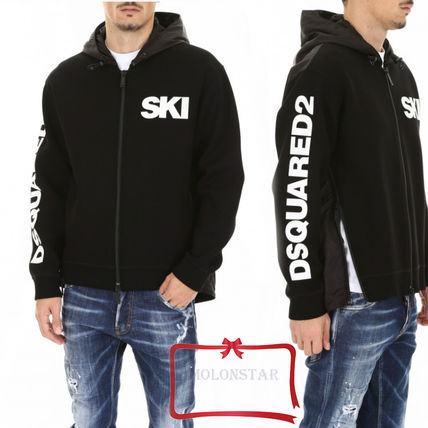 D SQUARED2 Hoodies Street Style Long Sleeves Plain Logos on the Sleeves Hoodies