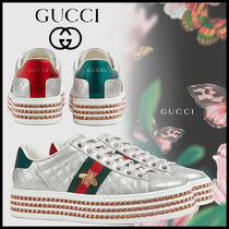 GUCCI Ace Stripes Rubber Sole Casual Style Other Animal Patterns