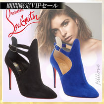 Christian Louboutin Suede Plain Pin Heels Elegant Style Ankle & Booties Boots