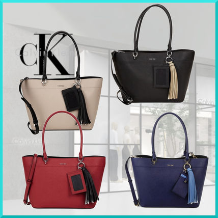 Tassel 2WAY Plain Leather Office Style Totes