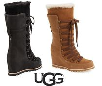 UGG Australia Round Toe Lace-up Casual Style Suede Plain Lace-up Boots