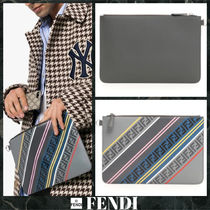 FENDI FOREVER Stripes Unisex Street Style Leather Clutches