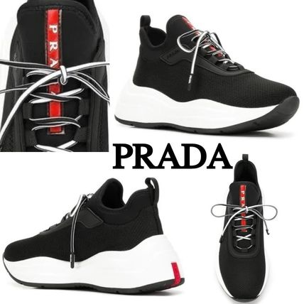 PRADA Low-Top Round Toe Rubber Sole Casual Style Plain Low-Top Sneakers