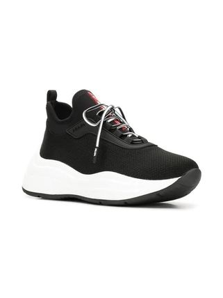 PRADA Low-Top Round Toe Rubber Sole Casual Style Plain Low-Top Sneakers 2