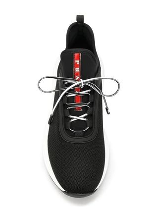 PRADA Low-Top Round Toe Rubber Sole Casual Style Plain Low-Top Sneakers 4