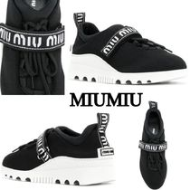 MiuMiu Round Toe Rubber Sole Casual Style Plain Low-Top Sneakers