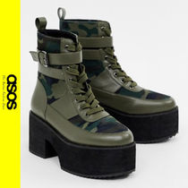 ASOS Camouflage Casual Style Faux Fur Ankle & Booties Boots