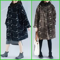 Camouflage Casual Style Velvet Street Style Long Oversized