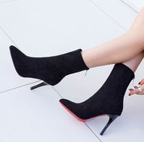 Suede Pin Heels Elegant Style Ankle & Booties Boots