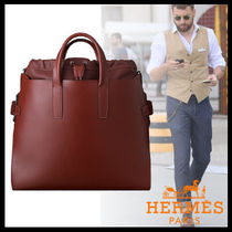 HERMES Street Style 2WAY Plain Leather Totes