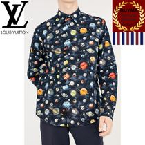 Louis Vuitton Button-down Star Unisex Long Sleeves Cotton Shirts